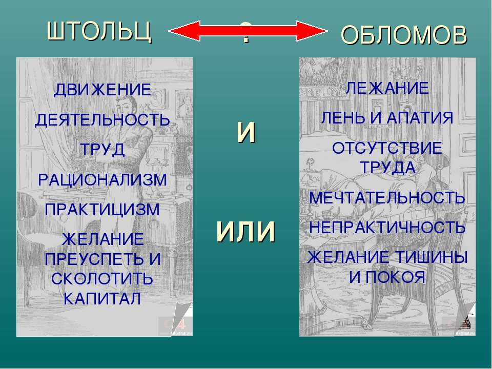 ? И ИЛИ ШТОЛЬЦ ОБЛОМОВ ДВИЖЕНИЕ ДЕЯТЕЛЬНОСТЬ ТРУД РАЦИОНАЛИЗМ ПРАКТИЦИЗМ ЖЕЛА...