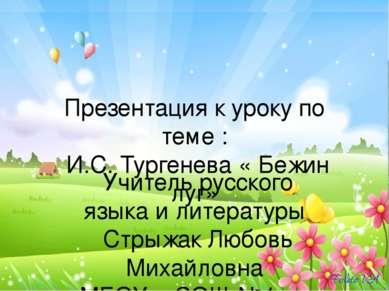 Презентация к уроку по теме : И.С. Тургенева « Бежин луг» Учитель русского яз...