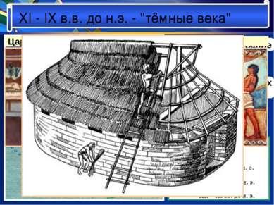"""XI - IX в.в. до н.э. - """"тёмные века"""" Дорийское завоевание разрушение микенски..."""