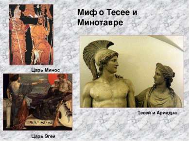 Миф о Тесее и Минотавре Царь Минос Царь Эгей Тесей и Ариадна