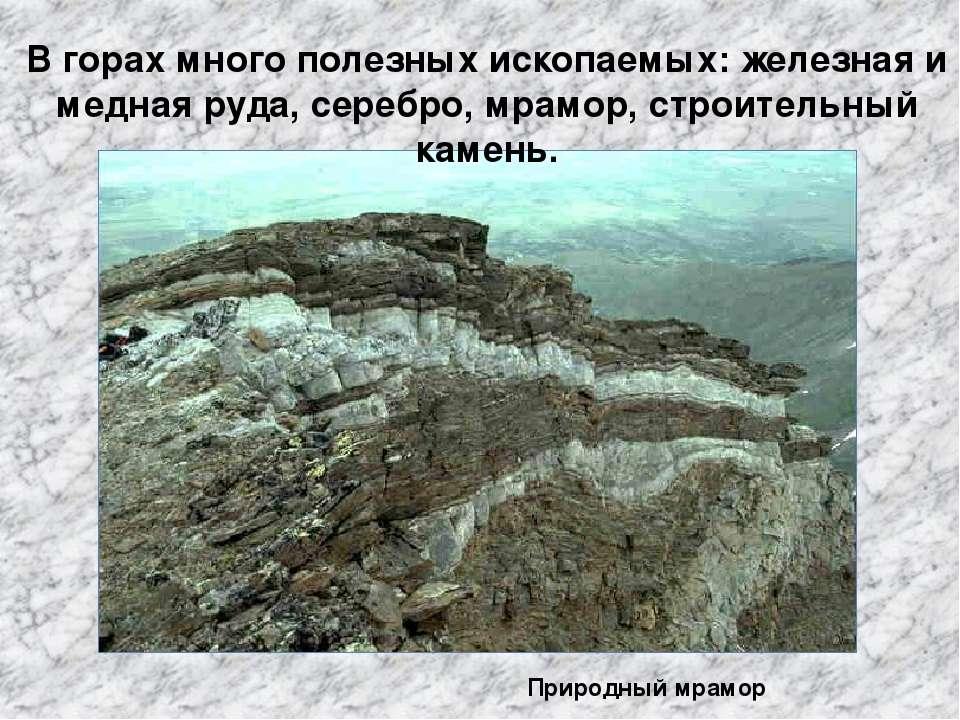 В горах много полезных ископаемых: железная и медная руда, серебро, мрамор, с...