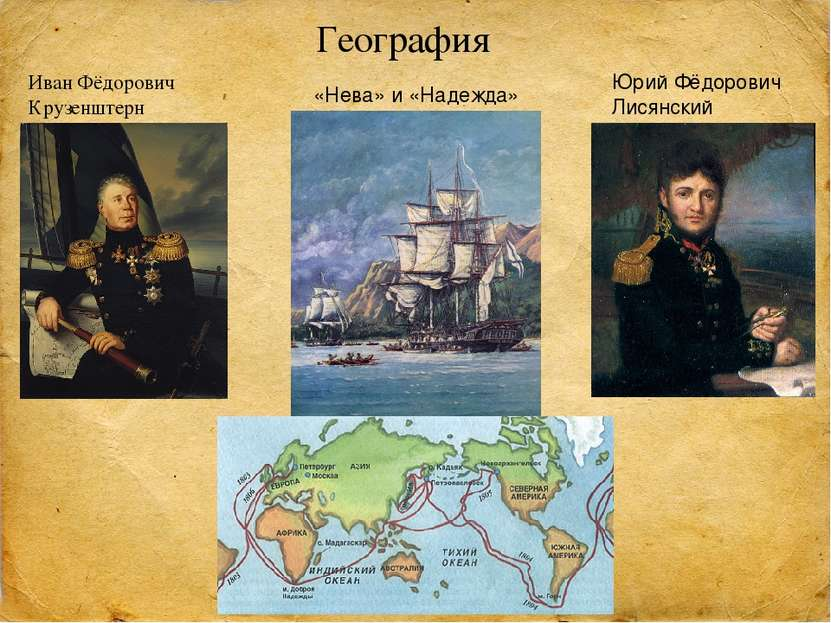 География Иван Фёдорович Крузенштерн Юрий Фёдорович Лисянский «Нева» и «Надежда»