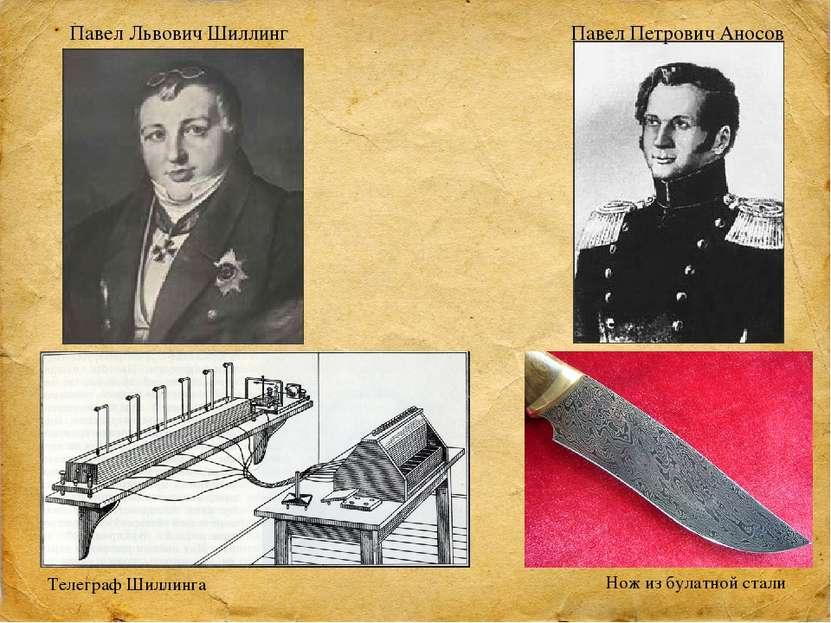 Павел Львович Шиллинг Телеграф Шиллинга Павел Петрович Аносов Нож из булатной...