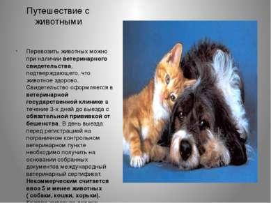 Путешествие с животными Перевозить животных можно при наличии ветеринарного с...