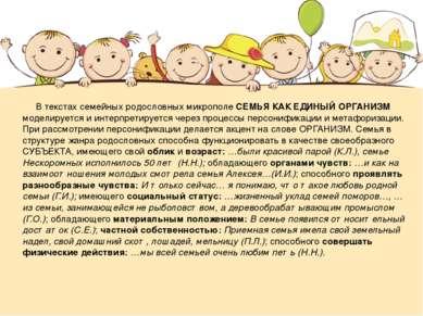 В текстах семейных родословных микрополе СЕМЬЯ КАК ЕДИНЫЙ ОРГАНИЗМ моделирует...