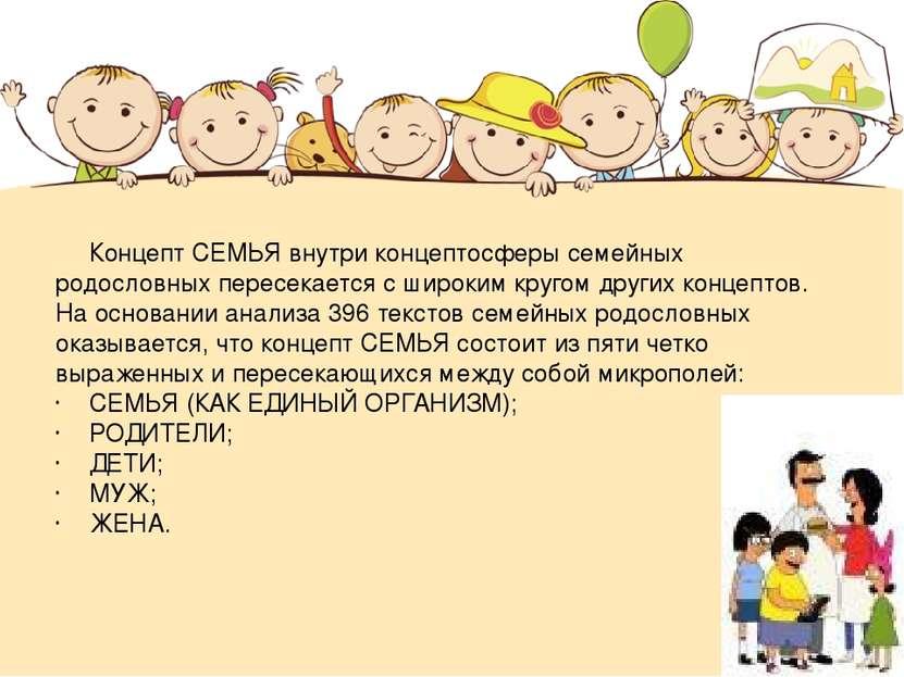 Концепт СЕМЬЯ внутри концептосферы семейных родословных пересекается с широки...