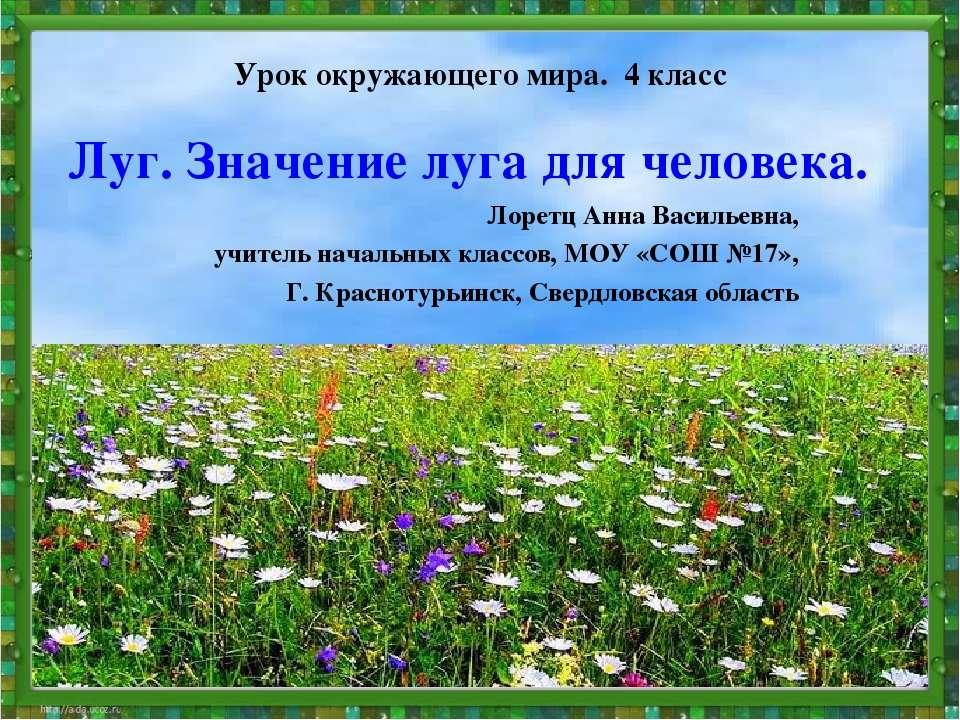Луг. Значение луга для человека. Лоретц Анна Васильевна, учитель начальных кл...