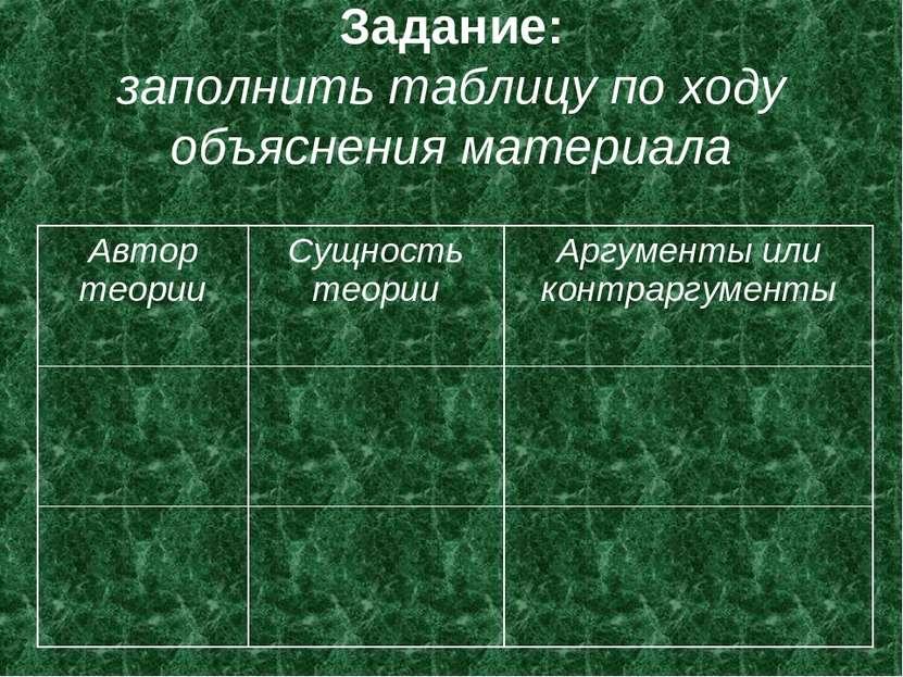 Задание: заполнить таблицу по ходу объяснения материала