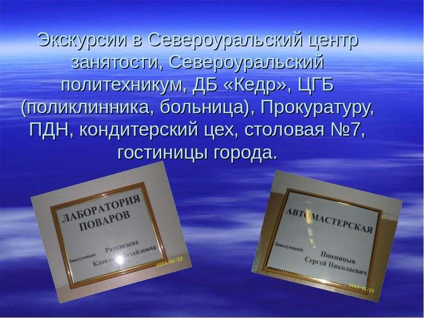 Экскурсии в Североуральский центр занятости, Североуральский политехникум, ДБ...