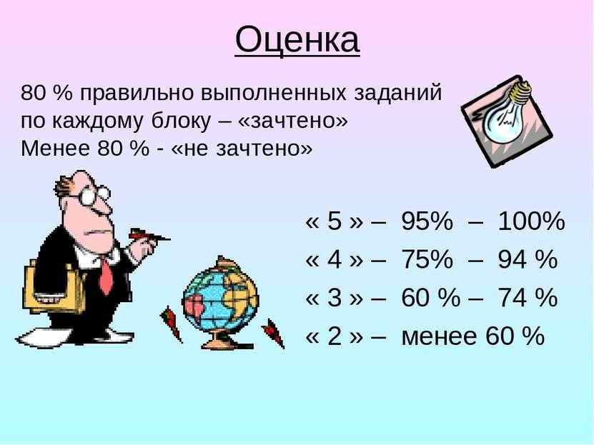 Оценка « 5 » – 95% – 100% « 4 » – 75% – 94 % « 3 » – 60 % – 74 % « 2 » – мене...