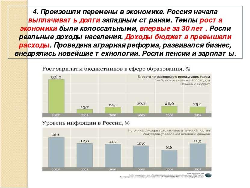 4. Произошли перемены в экономике. Россия начала выплачивать долги западным с...