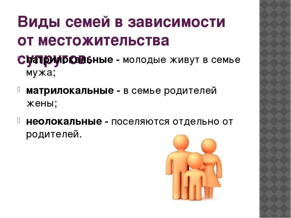 Виды семей в зависимости от местожительства супругов: патрилокальные -молоды...