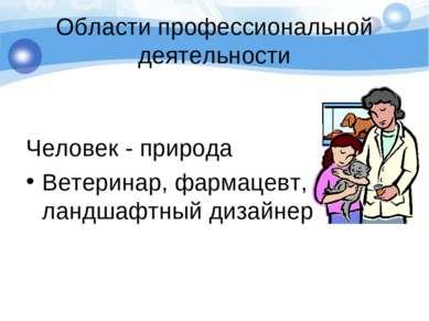 Области профессиональной деятельности Человек - природа Ветеринар, фармацевт,...