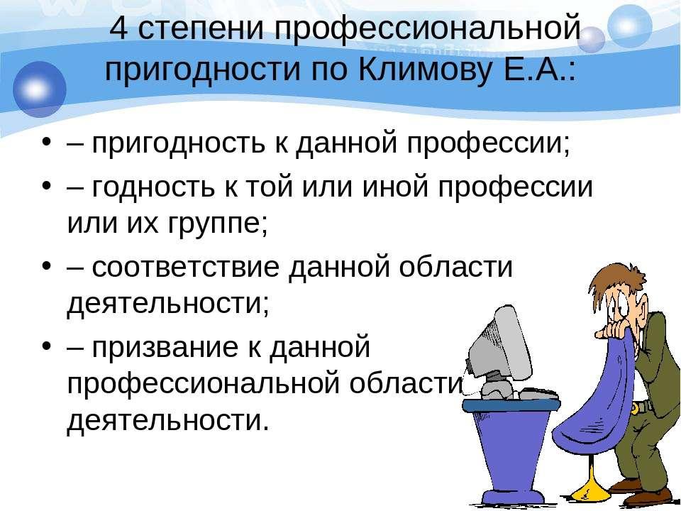 4 степени профессиональной пригодности по Климову Е.А.: – пригодность к данно...