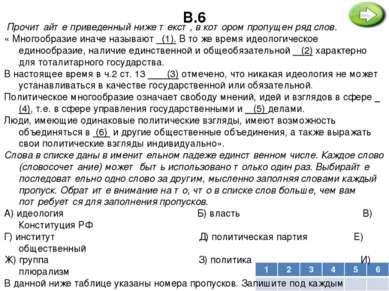 В.6 Прочитайте приведенный ниже текст, в котором пропущен ряд слов. « Много...