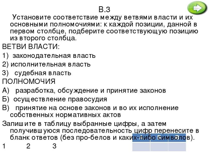 В.3 Установите соответствие между ветвями власти и их основными полномочиями:...