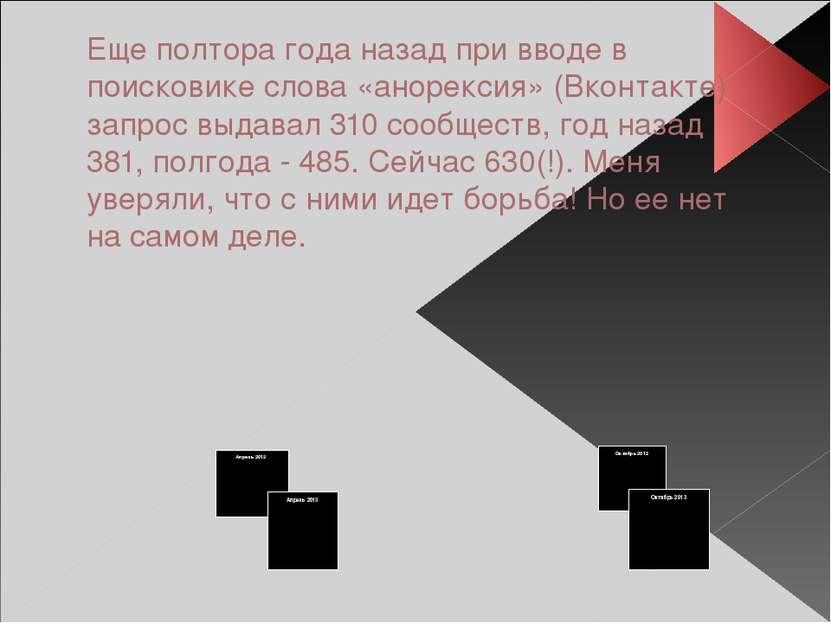 Еще полтора года назад при вводе в поисковике слова «анорексия» (Вконтакте) з...