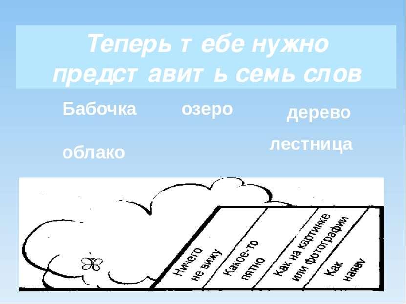 Теперь тебе нужно представить семь слов Бабочка облако озеро дерево лестница