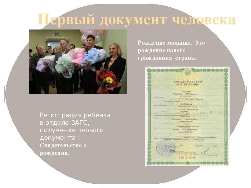 Первый документ человека Регистрация ребенка в отделе ЗАГС, получение первого...