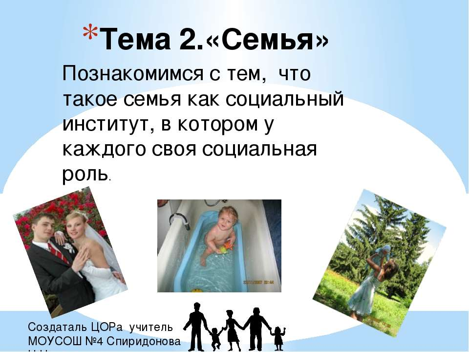 Создаталь ЦОРа учитель МОУСОШ №4 Спиридонова Н.Н. Тема 2.«Семья» Познакомимся...