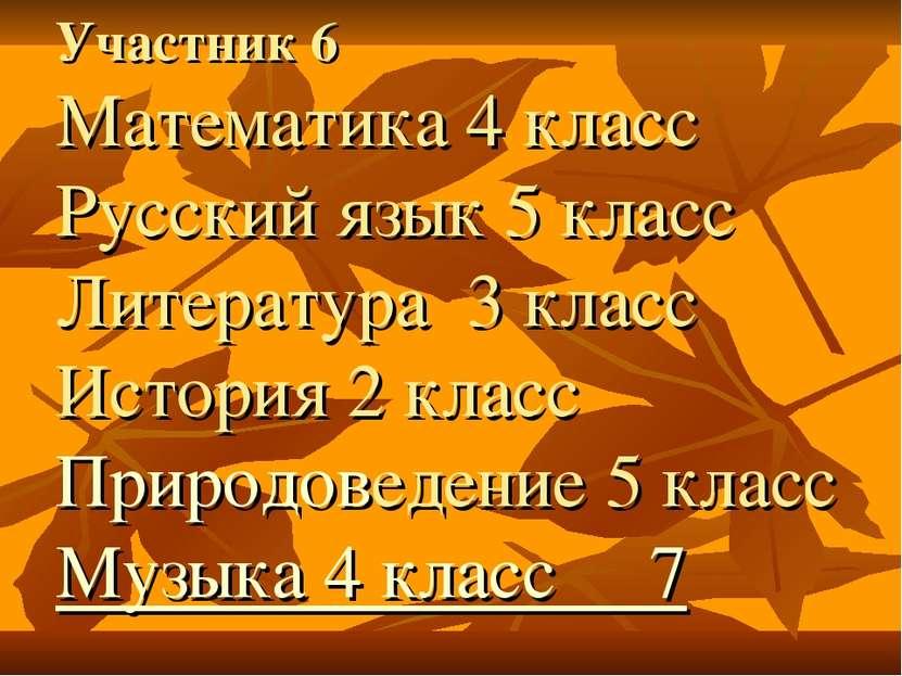 Участник 6 Математика 4 класс Русский язык 5 класс Литература 3 класс История...