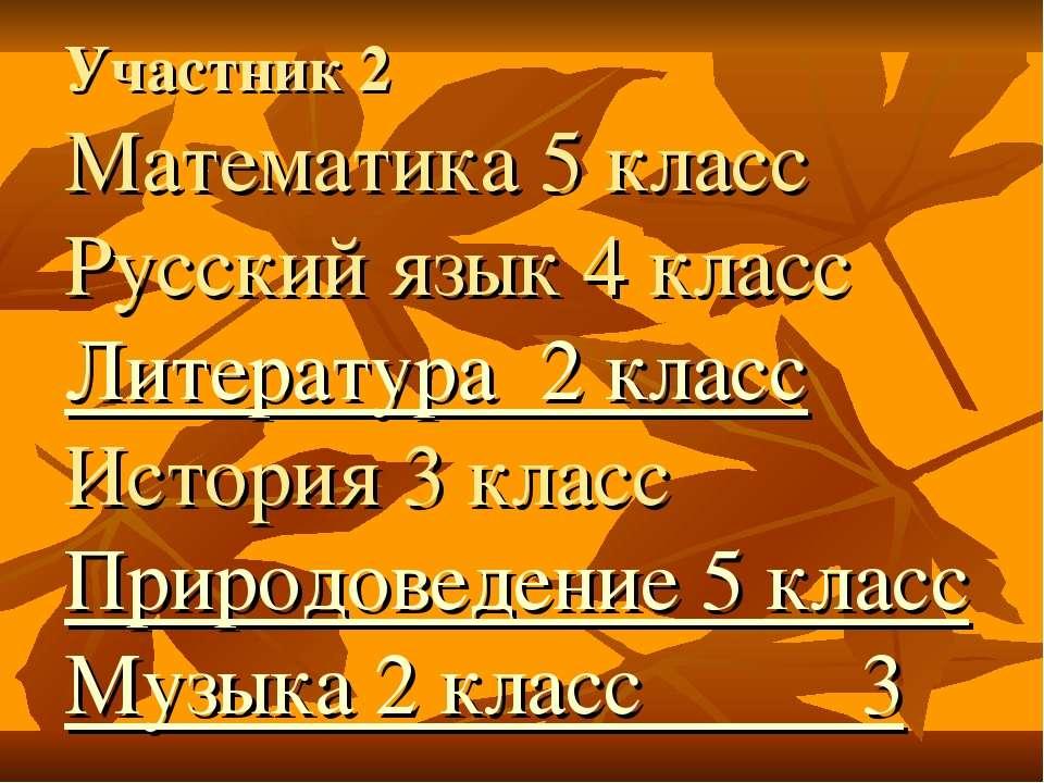 Участник 2 Математика 5 класс Русский язык 4 класс Литература 2 класс История...