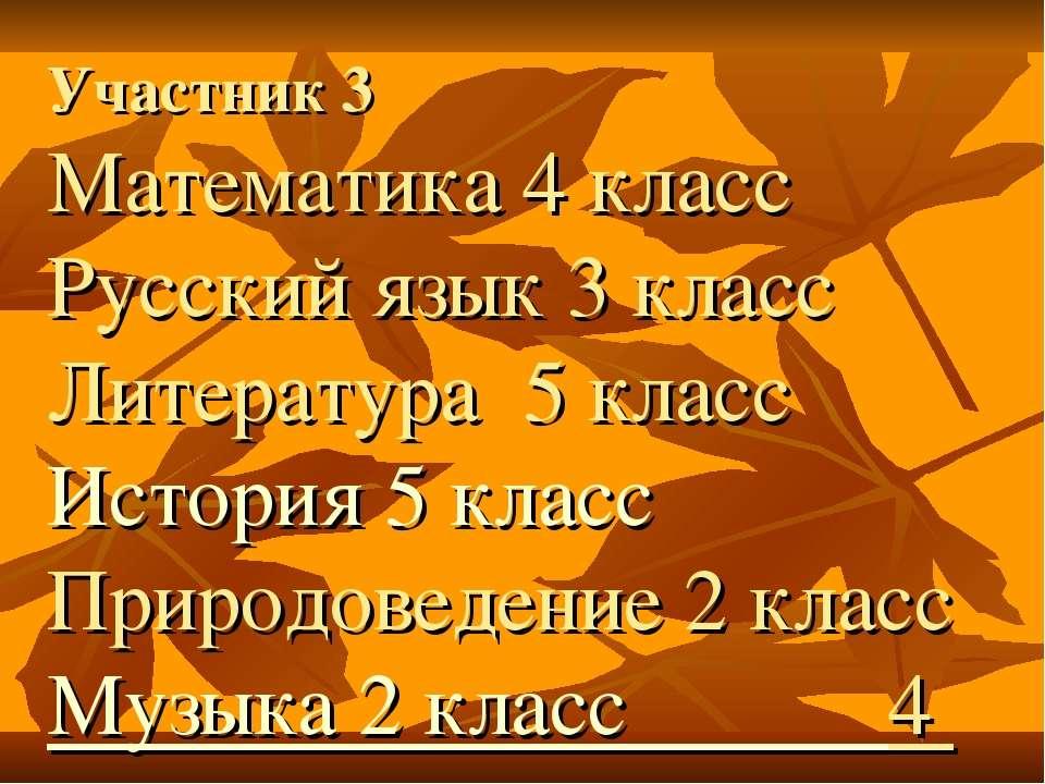 Участник 3 Математика 4 класс Русский язык 3 класс Литература 5 класс История...
