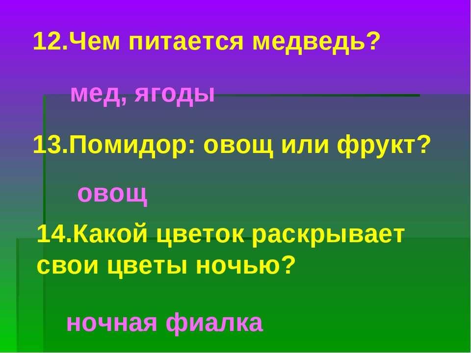 12.Чем питается медведь? мед, ягоды 13.Помидор: овощ или фрукт? овощ 14.Какой...