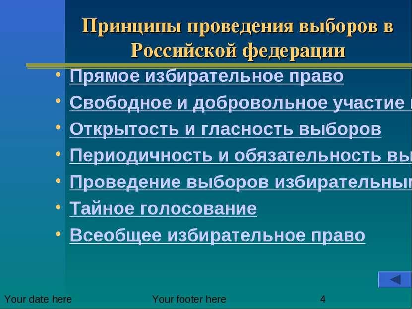 Принципы проведения выборов в Российской федерации Прямое избирательное право...
