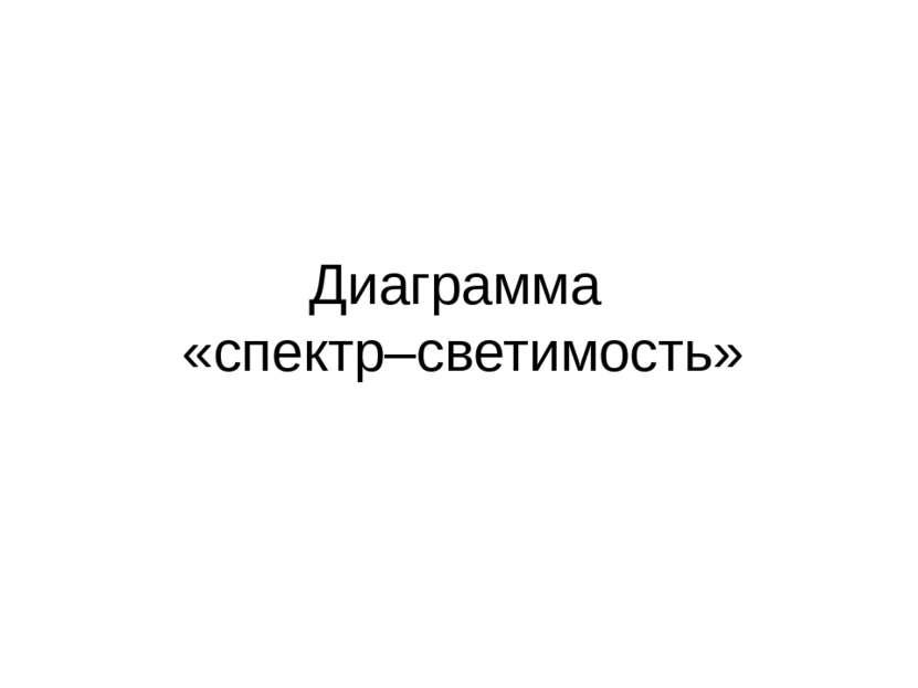 Диаграмма «спектр–светимость»