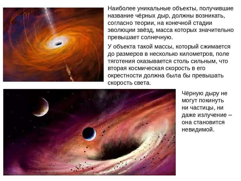 Наиболее уникальные объекты, получившие название чёрных дыр, должны возникать...