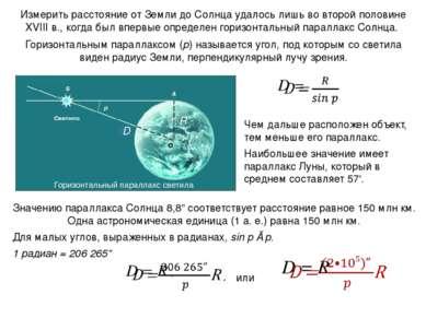 Измерить расстояние от Земли до Солнца удалось лишь во второй половине XVIII ...