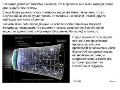 Веста Паллада Взаимное удаление галактик означает, что в прошлом они были гор...