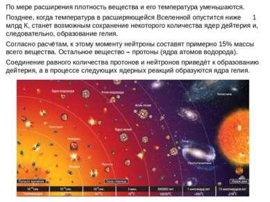 По мере расширения плотность вещества и его температура уменьшаются. Позднее,...