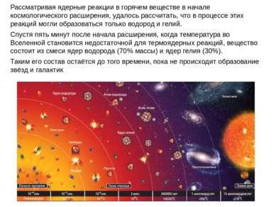 Рассматривая ядерные реакции в горячем веществе в начале космологического рас...