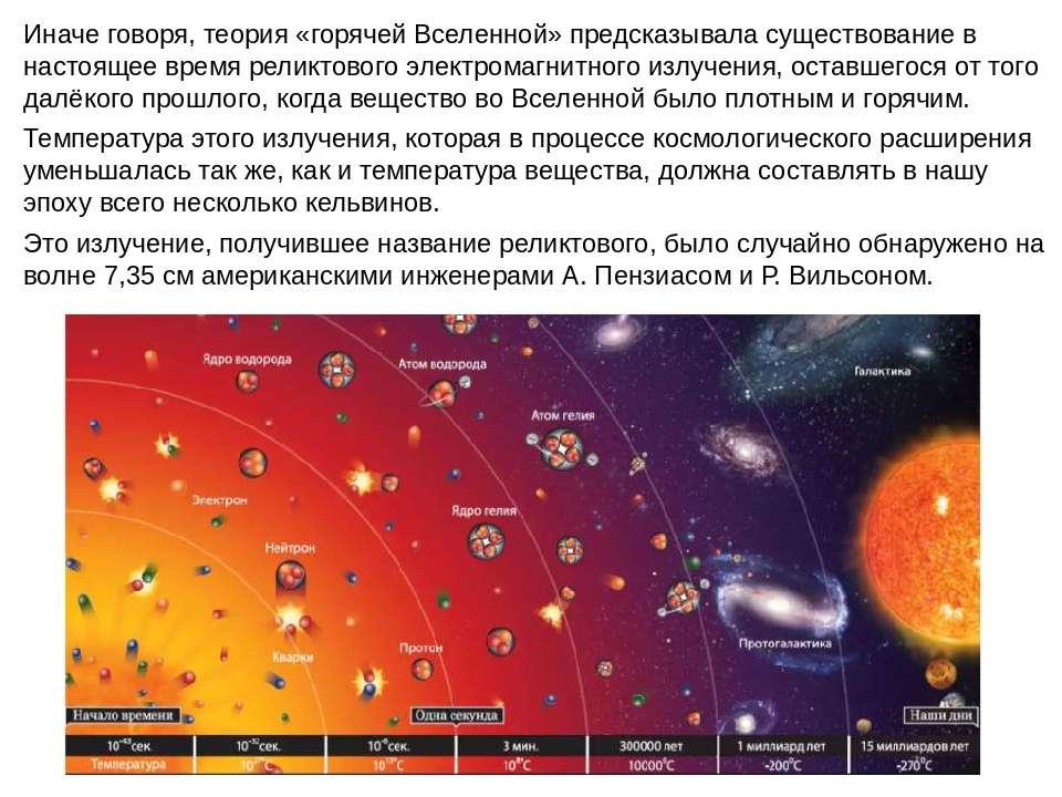 Иначе говоря, теория «горячей Вселенной» предсказывала существование в настоя...