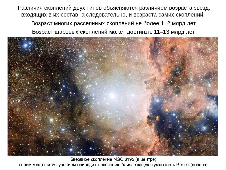 Различия скоплений двух типов объясняются различием возраста звёзд, входящих ...