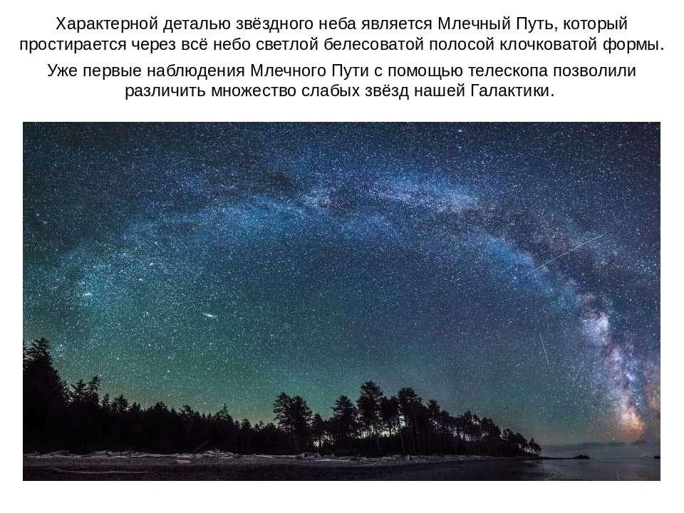Характерной деталью звёздного неба является Млечный Путь, который простираетс...