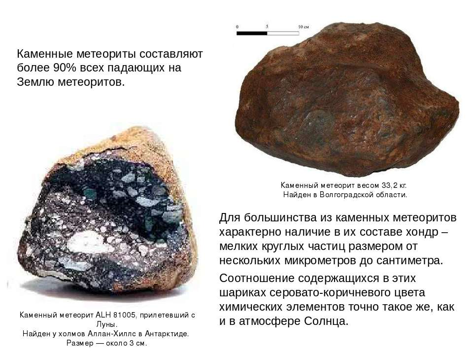 Для большинства из каменных метеоритов характерно наличие в их составе хондр ...