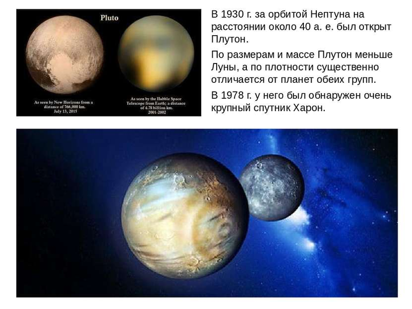 В 1930 г. за орбитой Нептуна на расстоянии около 40 а. е. был открыт Плутон. ...