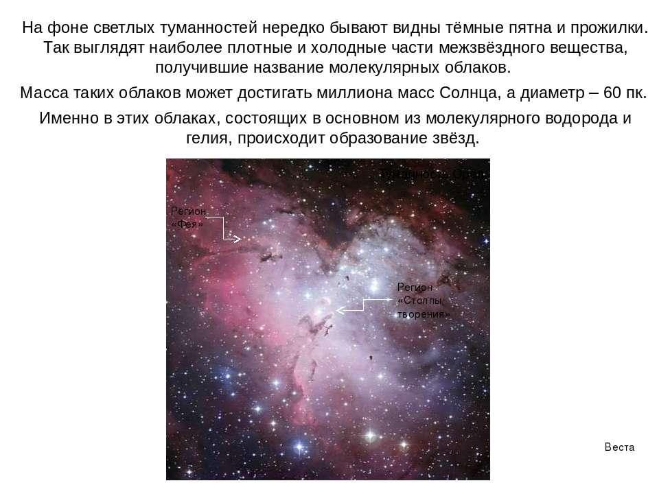 Веста Паллада На фоне светлых туманностей нередко бывают видны тёмные пятна и...