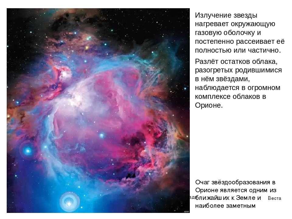 Веста Паллада Излучение звезды нагревает окружающую газовую оболочку и постеп...