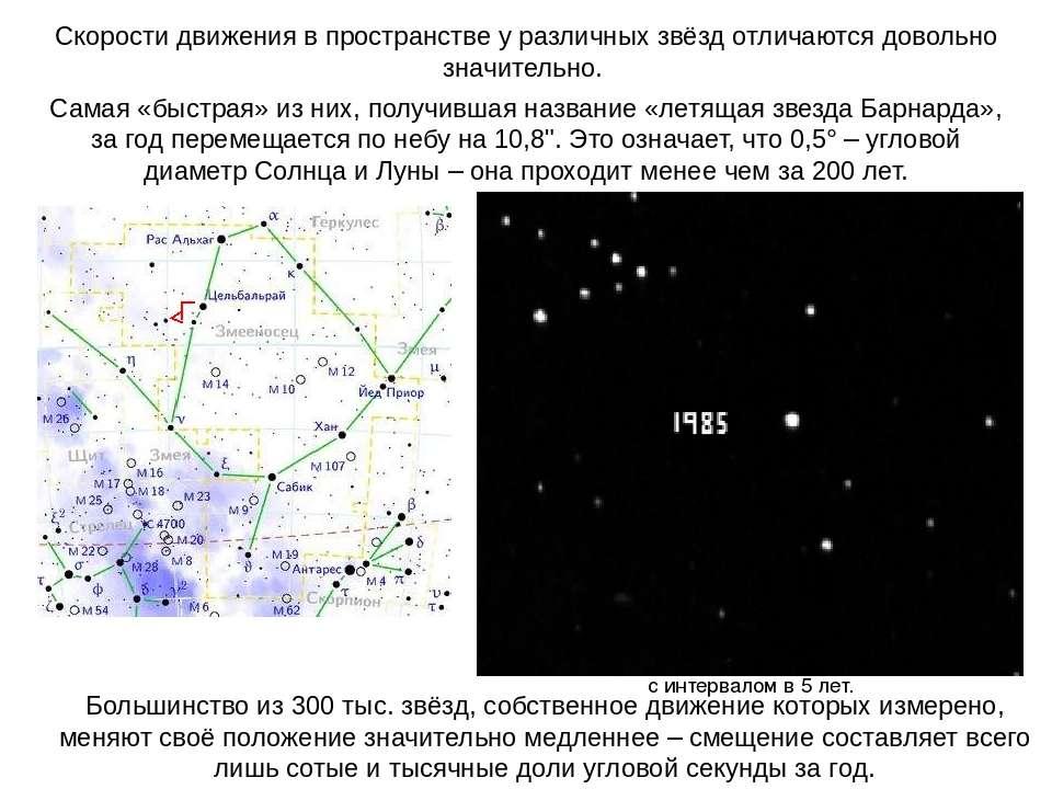 Скорости движения в пространстве у различных звёзд отличаются довольно значит...