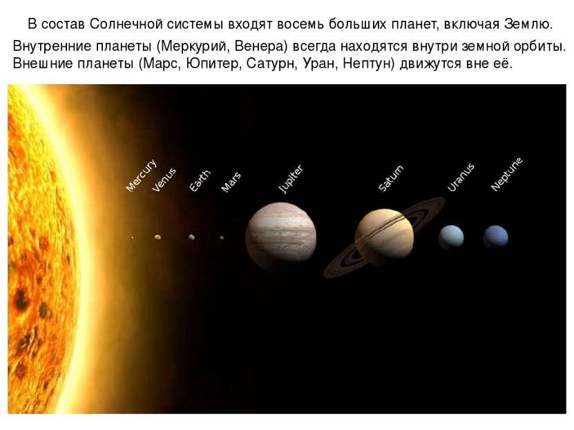 В состав Солнечной системы входят восемь больших планет, включая Землю. Внутр...