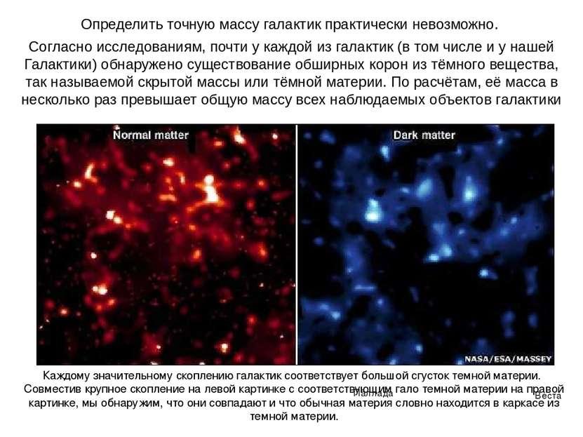 Веста Паллада Определить точную массу галактик практически невозможно. Соглас...