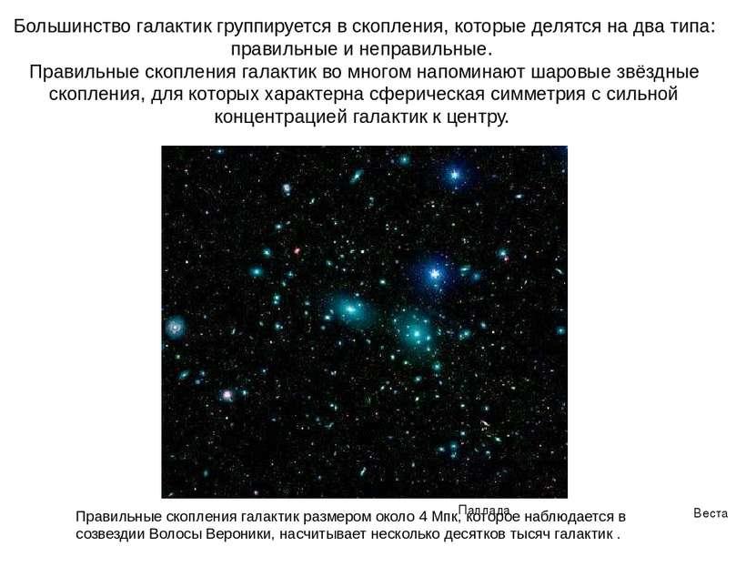Веста Паллада Большинство галактик группируется в скопления, которые делятся ...