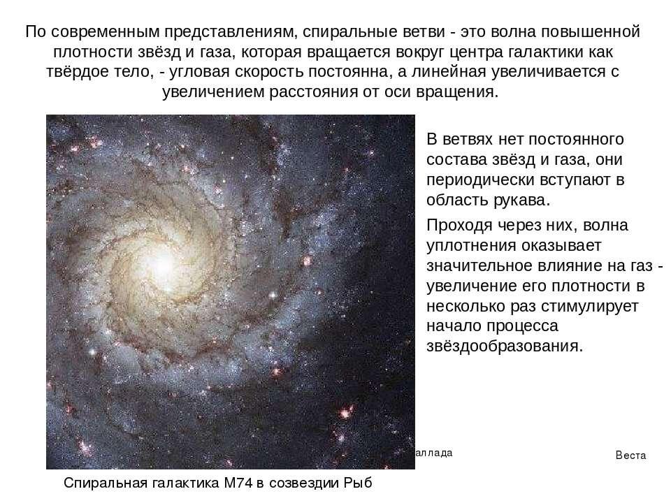 Веста Паллада В ветвях нет постоянного состава звёзд и газа, они периодически...