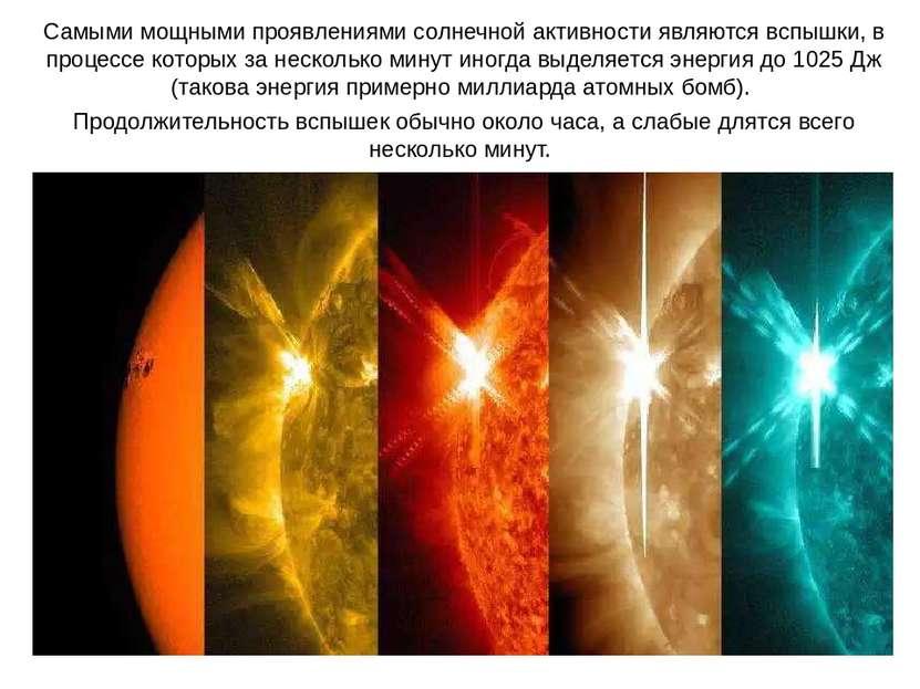 Самыми мощными проявлениями солнечной активности являются вспышки, в процессе...