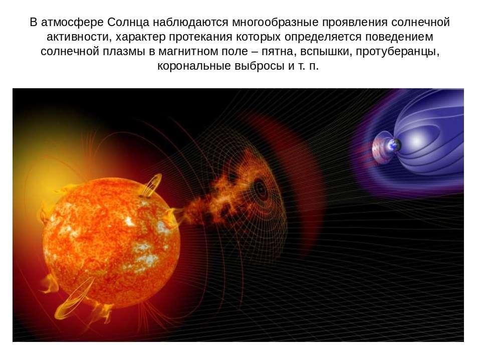 В атмосфере Солнца наблюдаются многообразные проявления солнечной активности,...
