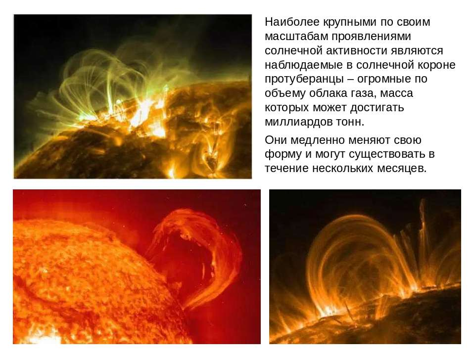 Наиболее крупными по своим масштабам проявлениями солнечной активности являют...